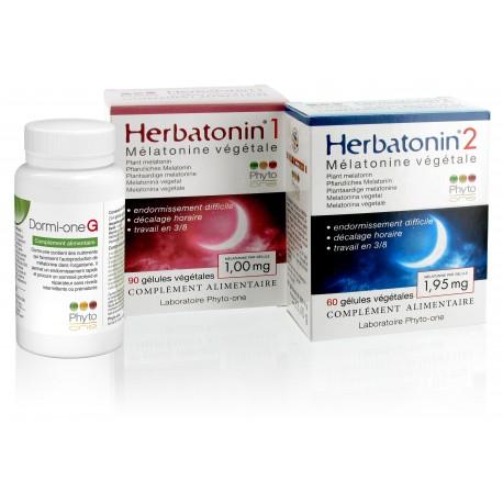 Mélatonine végétale : 1 x Herbatonin 1 + 1 x Herbatonin 2 + 1 Dormi-one