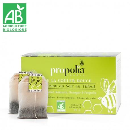 Infusion du Soir BIO - Boîte de 20 sachets fraîcheur - Plantes Bio (Tilleul, Guimauve, Romarin, Oranger doux), Propolis Bio.