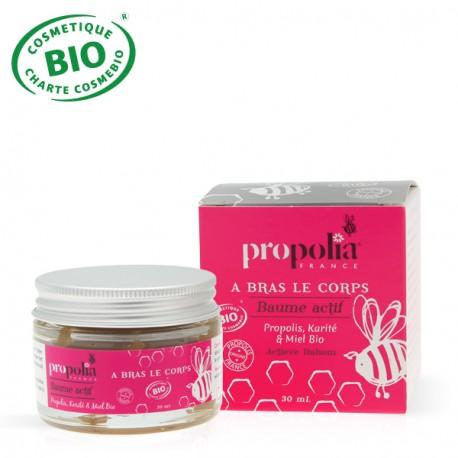 Baume Actif Cosmétique Biologique • Pot de 30 ml, • Propolis, Karité BIO, Miel BIO, • Sans conservateur, ni colorant.
